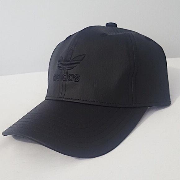 fb121f90 RARE Adidas Originals Leather Snapback Trefoil Hat